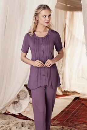 Lohusa Sepeti Kadın Mor Önden Düğmeli Pijama Takımı