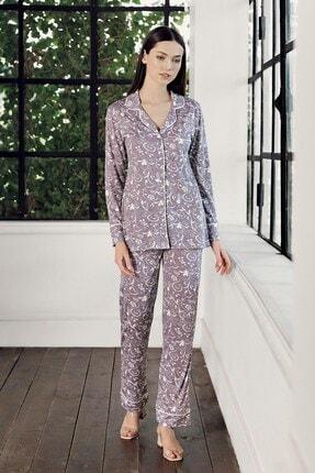 Lohusa Sepeti Kadın Mor Desenli Önden Düğmeli Pijama Takımı