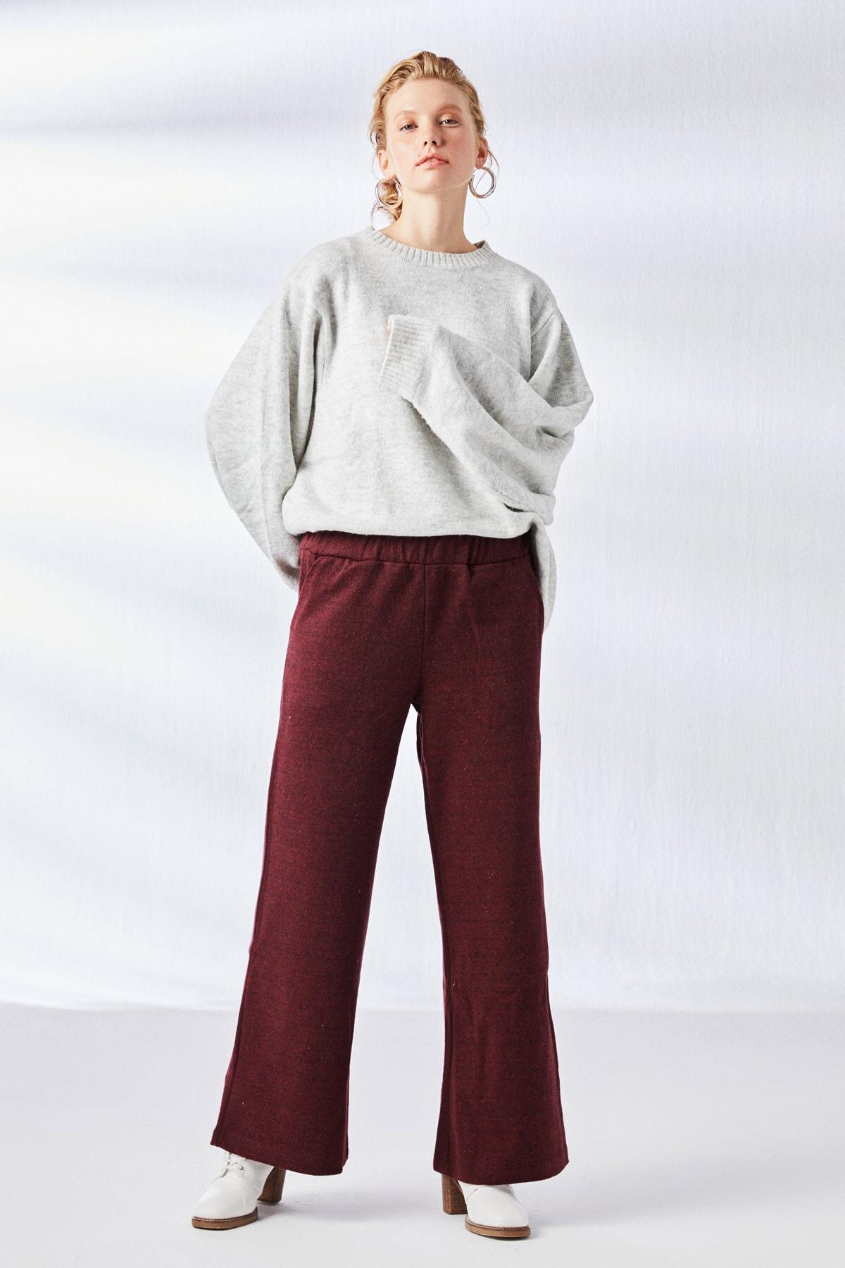 Muni Muni Kadın Bordo Jakarlı Pantolon