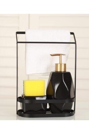 mutfakfoni Acar Süngerlikli Sıvı Sabunluk Takımı Siyah Zht-10910