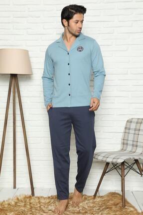 Pijamaevi Önden Düğmeli Uzun Kollu Erkek Pijama Takımı