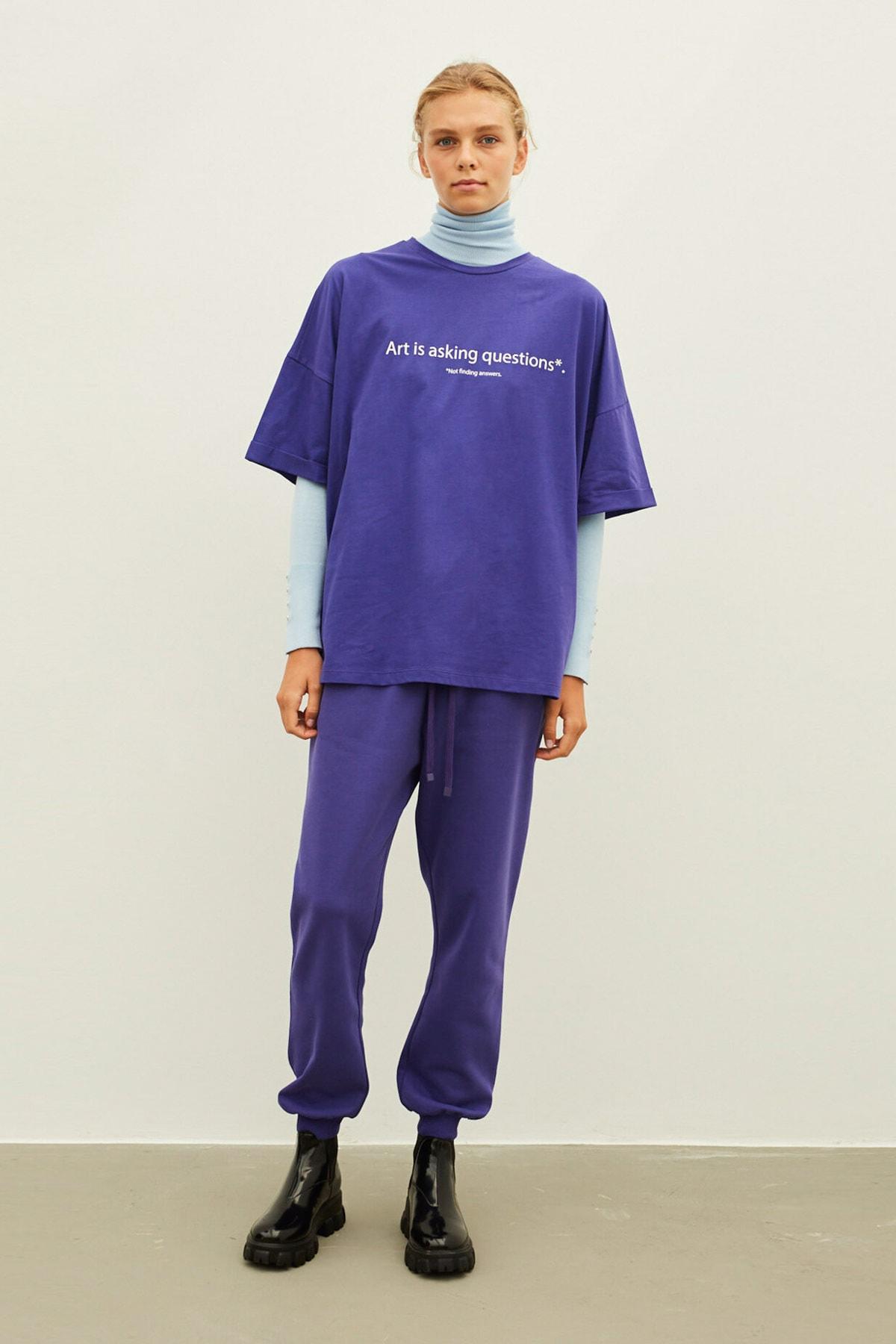 İpekyol Kadın Mor Slogan Baskılı Tişört 2
