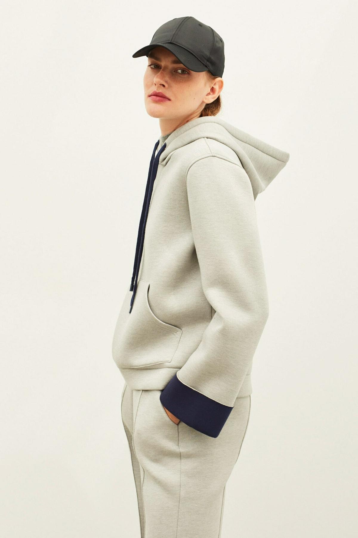 İpekyol Kadın Gri Scuba Kapüşonlu Sweatshirt 1