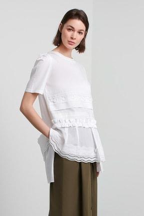 Machka Kadın Beyaz Dantel Ve Güpür Şeritli Bluz MS1200006035002