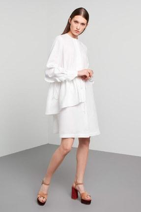 Machka Kadın Beyaz Fırfır ve Büzgü Detaylı Keten Elbise