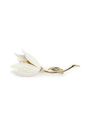 İpekyol Kadın Beyaz Çiçek Figür Broş