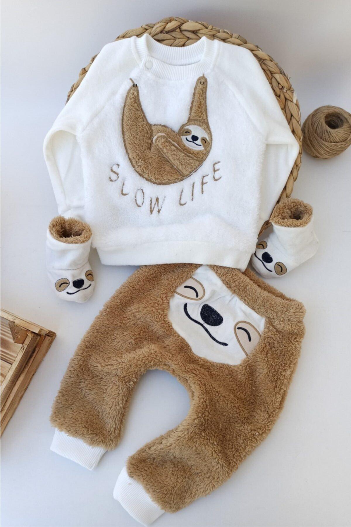 ALİSS Kahve Panduflu Tembel Hayvan Fügürlü Kışlık Welsoft Panduflu Lüx Bebek Takımı 6-9-12 Ay 1
