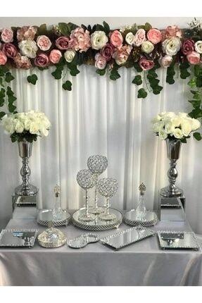 Almila Store Gümüş Söz Nişan Jardinyer Şamdan Şekerlik Metal Vazo Tepsi Full Takım