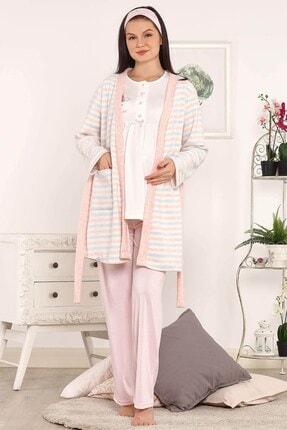 Lohusa Sepeti Kadın Pudra Polar Sabahlıklı Lohusa Pijama Takımı 3803