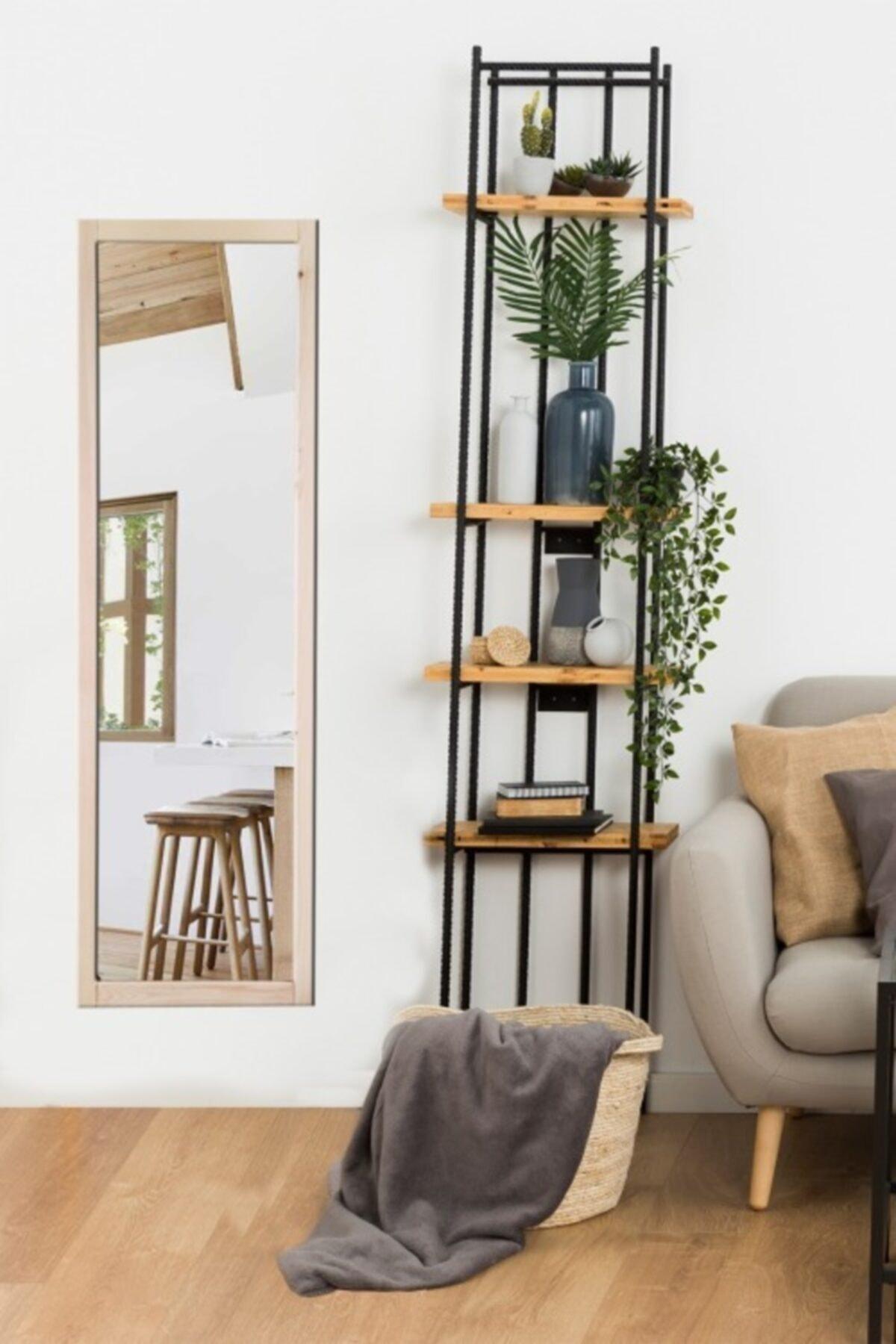 LYN HOME & DECOR Ham Ağaç Çerçeveli Boy Aynası 1