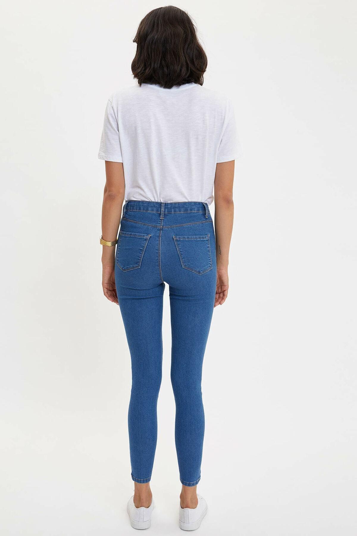 DeFacto Kadın Mavi Kot Anna Yüksek Bel Super Skinny Jean Pantolon 2