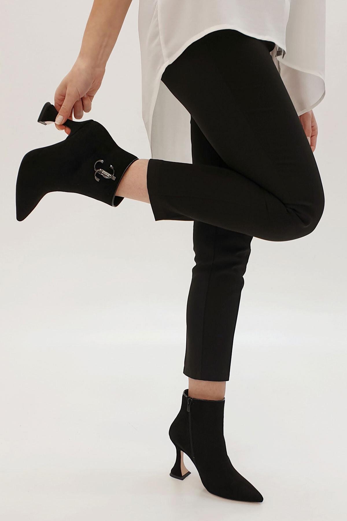 Marjin Kadın Siyah Süet Demina Topuklu Bot 1