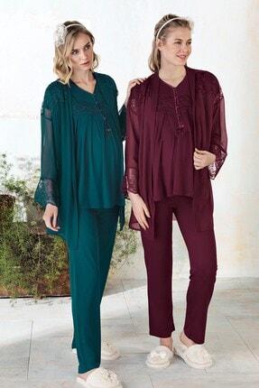 Lohusa Sepeti Kadın Yeşil Sabahlıklı Lohusa Pijama Takımı