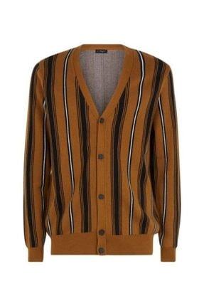 New Look Erkek Kahverengi Çizgili Tasarım Hırka