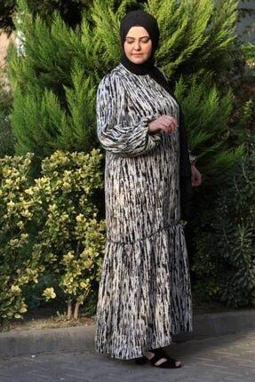 NRCN Kadın Krem Siyah Balon Kollu Uzun Saten Elbise