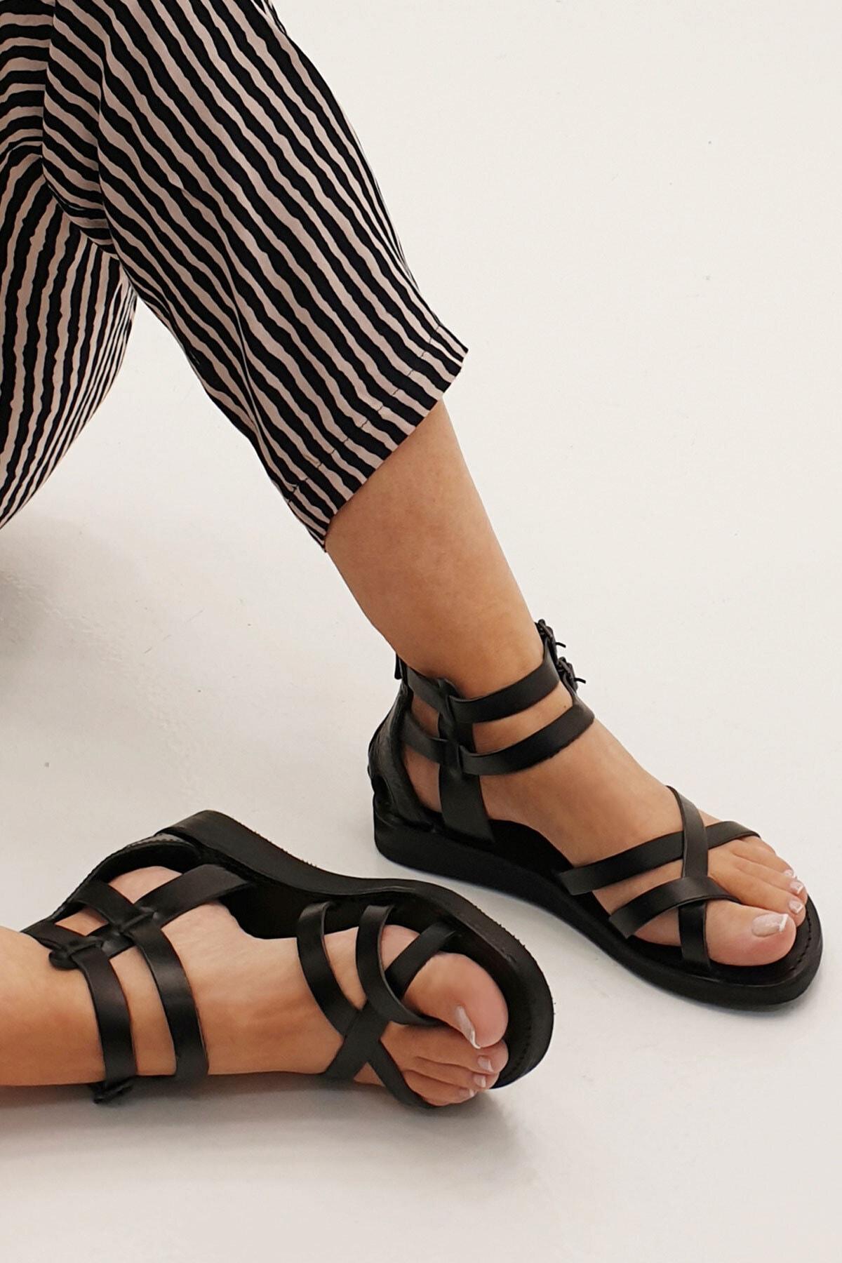 Marjin Kadın Siyah Zelos Hakiki Deri Parmak Arası Sandalet 1