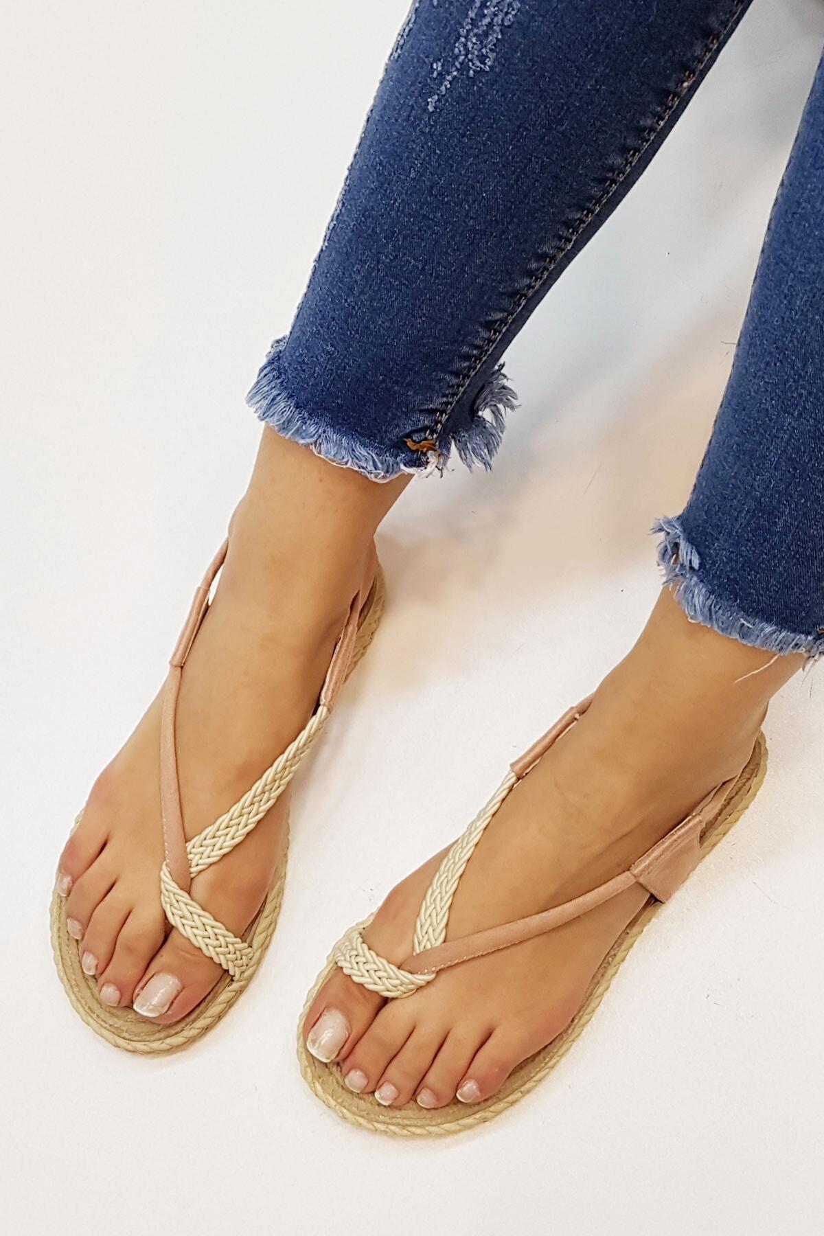 Marjin Kadın Pudra Süet Eylivo Parmak Arası Sandalet 1
