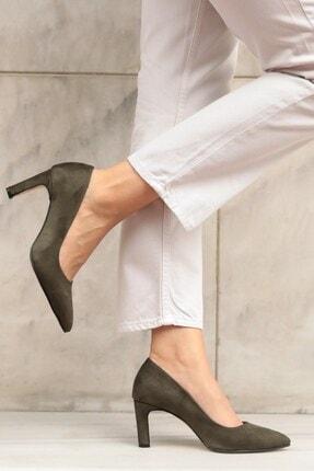 Mio Gusto Lita Haki Süet Topuklu Ayakkabı