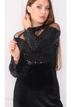 DMR Kadın Siyah Kadife Detay Elbise