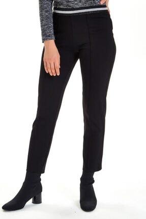 İKİLER Kadın Siyah Beli Simli Lastikli Önü Dikişli Pantolon 201-2007