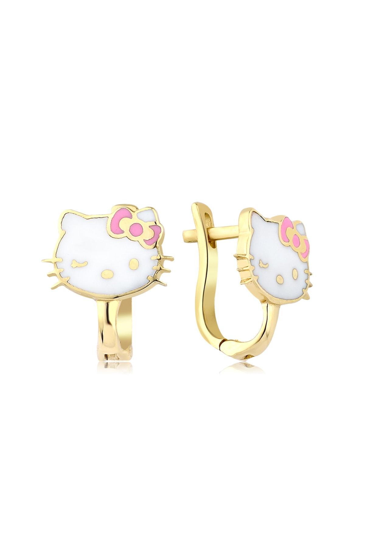 Hello Kitty Lisanslı Kız Çocuk Pembe 14 Ayar Altın Küpe 1
