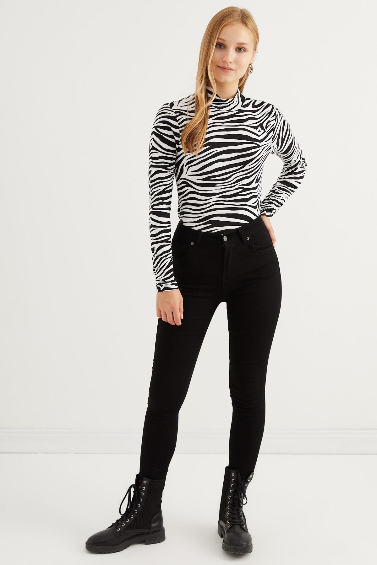 Bipantolon Kadın Siyah Zebra Desenli Body 2