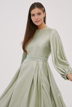 Kayra Kadın Su Yeşili Kuşaklı Geniş Pilili Balon Kol Elbise A20 23029