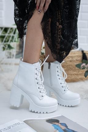 meyra'nın ayakkabıları Beyaz Cilt Bağcıklı Bot