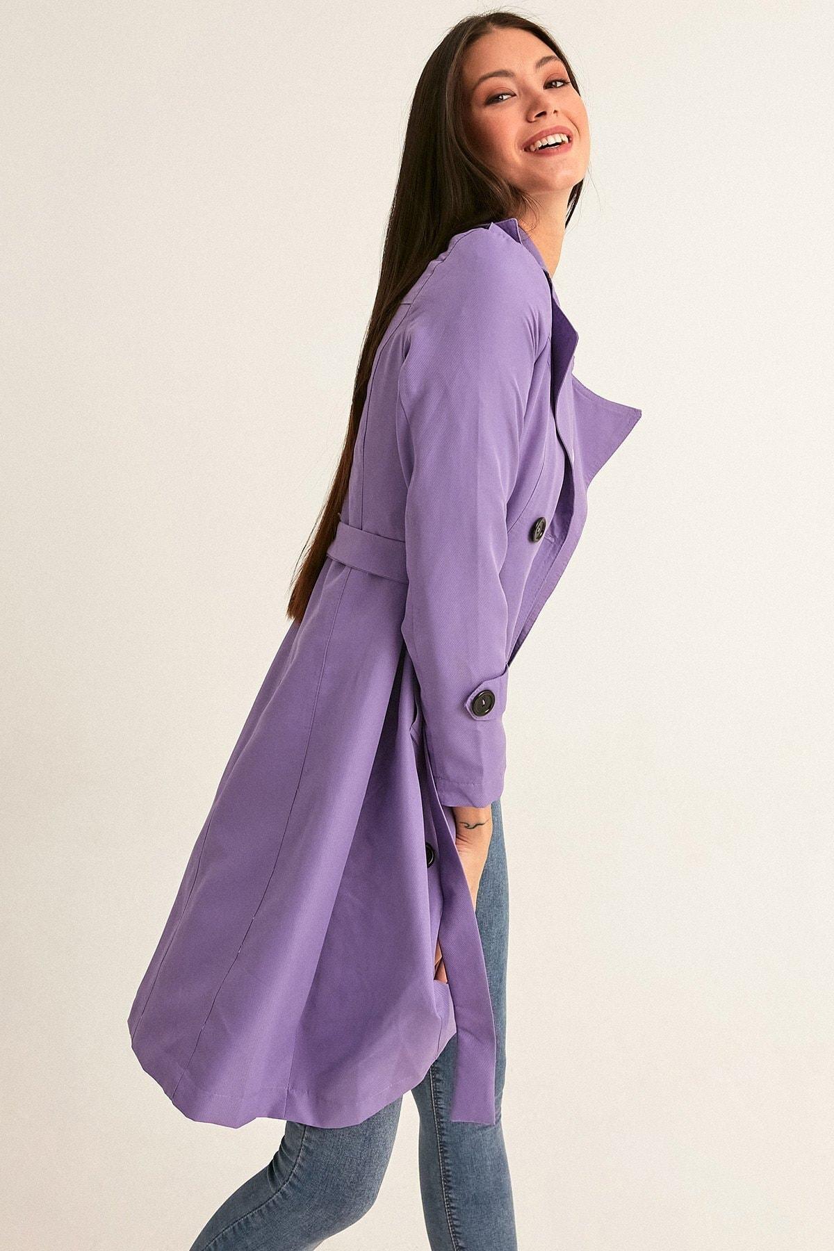 Fulla Moda Kadın Lila Uzun Basic Trençkot 2