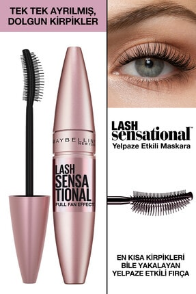 Maybelline New York Kıvrım & Hacim Etkili Siyah Maskara - Lash Sensational Mascara 3600531143459