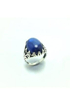 Afrodit Silver 925 Ayar Gümüş Işlemeli Mavi Taşlı Erkek Yüzük
