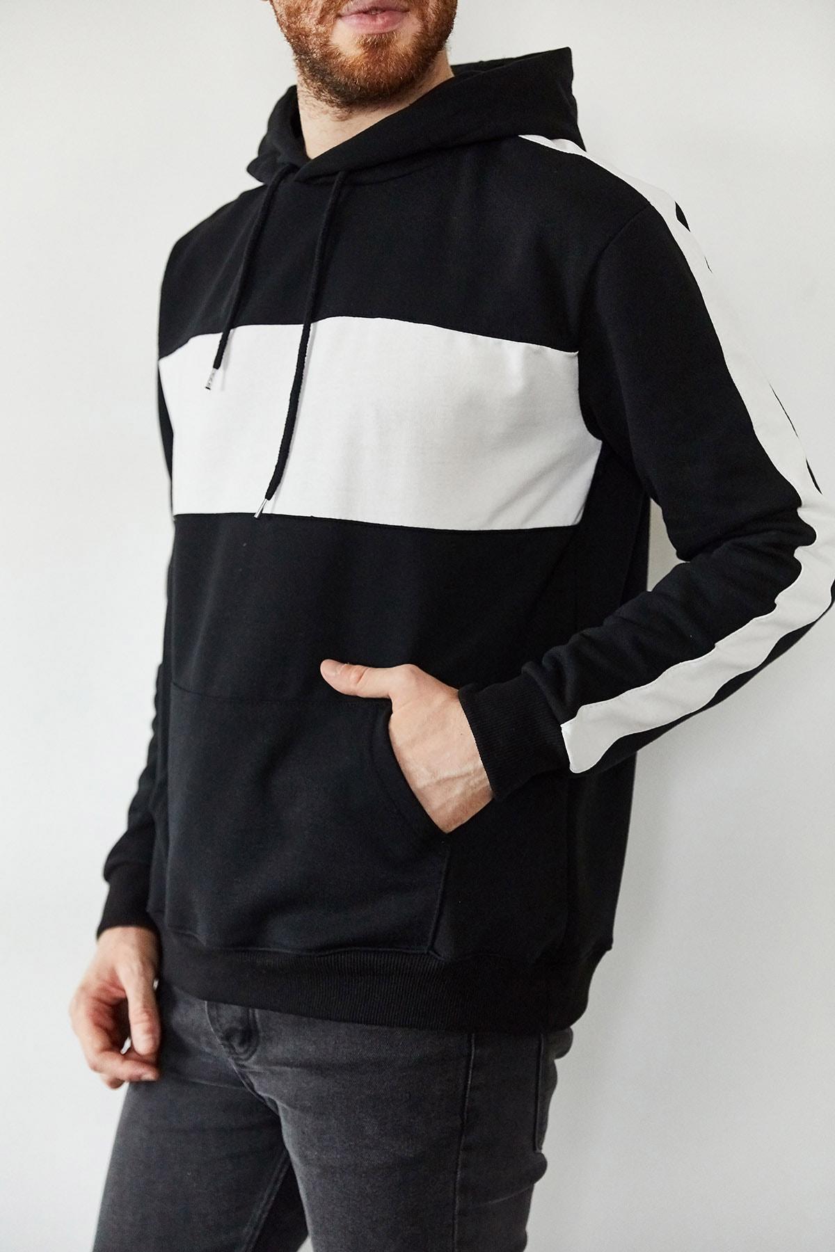 XHAN Erkek Siyah Beyaz Blok Detaylı Kapüşonlu Sweatshirt 1kxe8-44169-02 1