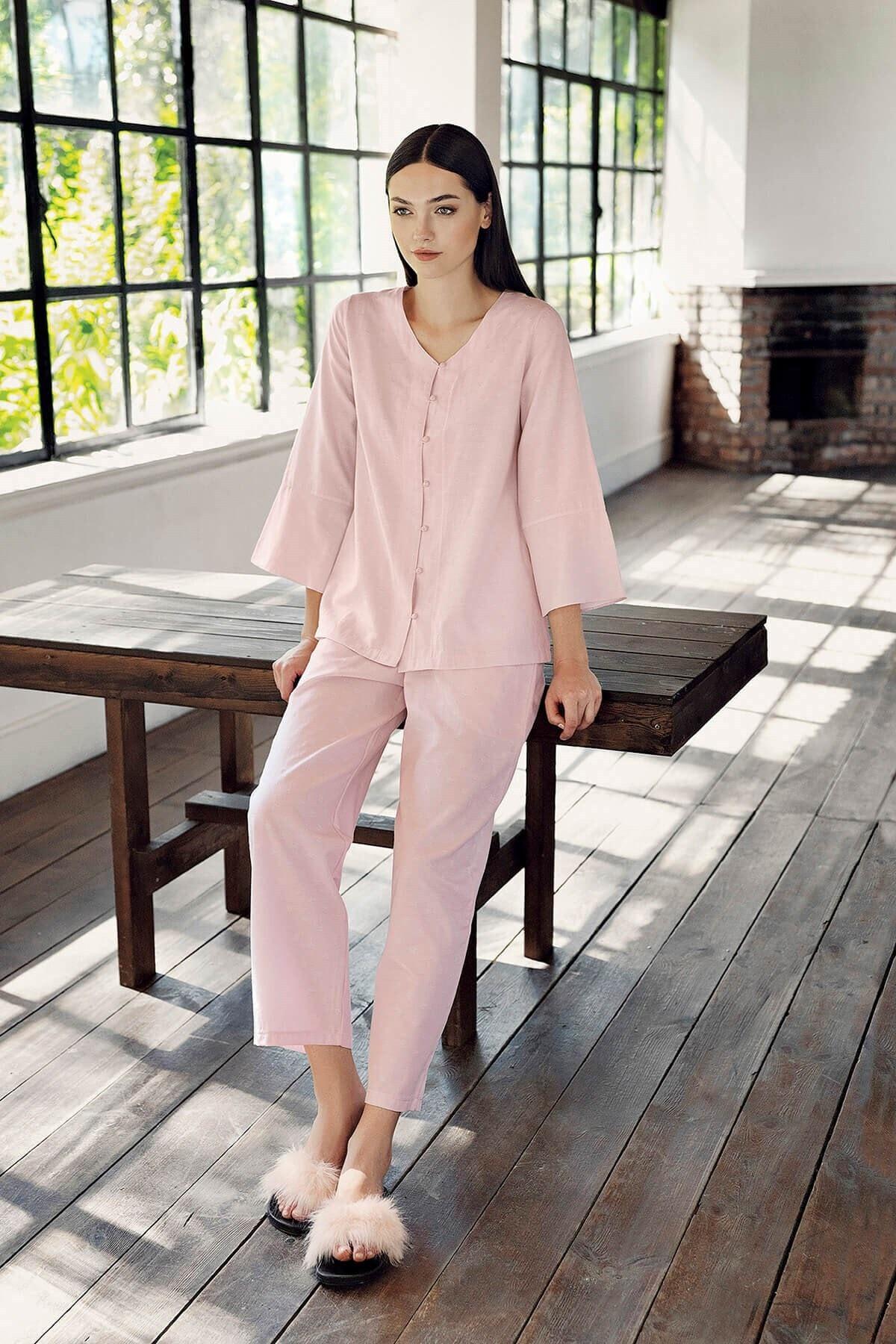 Lohusa Sepeti Kadın Pembe Önden Düğmeli Pijama Takımı 1