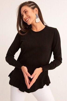 Fulla Moda Kadın Siyah Altı Fırfırlı Triko Kazak
