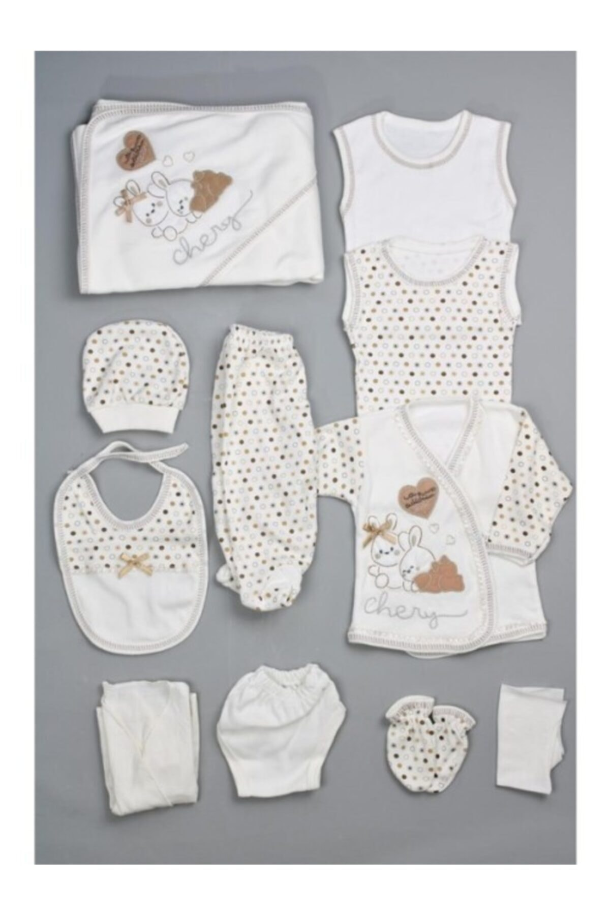 Bombinoo Erkek Bebek Kahverengi Tavşan Resimli 11li Yenidoğan Hastane Çıkış Seti 1