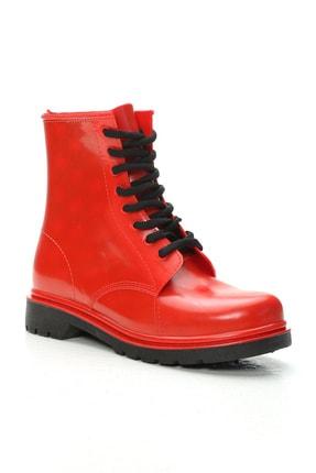 Ayakkabı Modası Unisex Kırmızı Kısa Yağmur Çizmesi