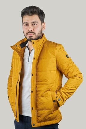 Mcr Erkek Sarı Slim Fit Kapitone Cep Detaylı Şişme Mont 39498