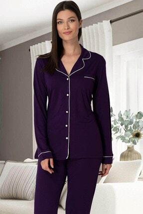 Lohusa Sepeti Kadın Mor Önden Düğmeli Pijama Takımı 5336