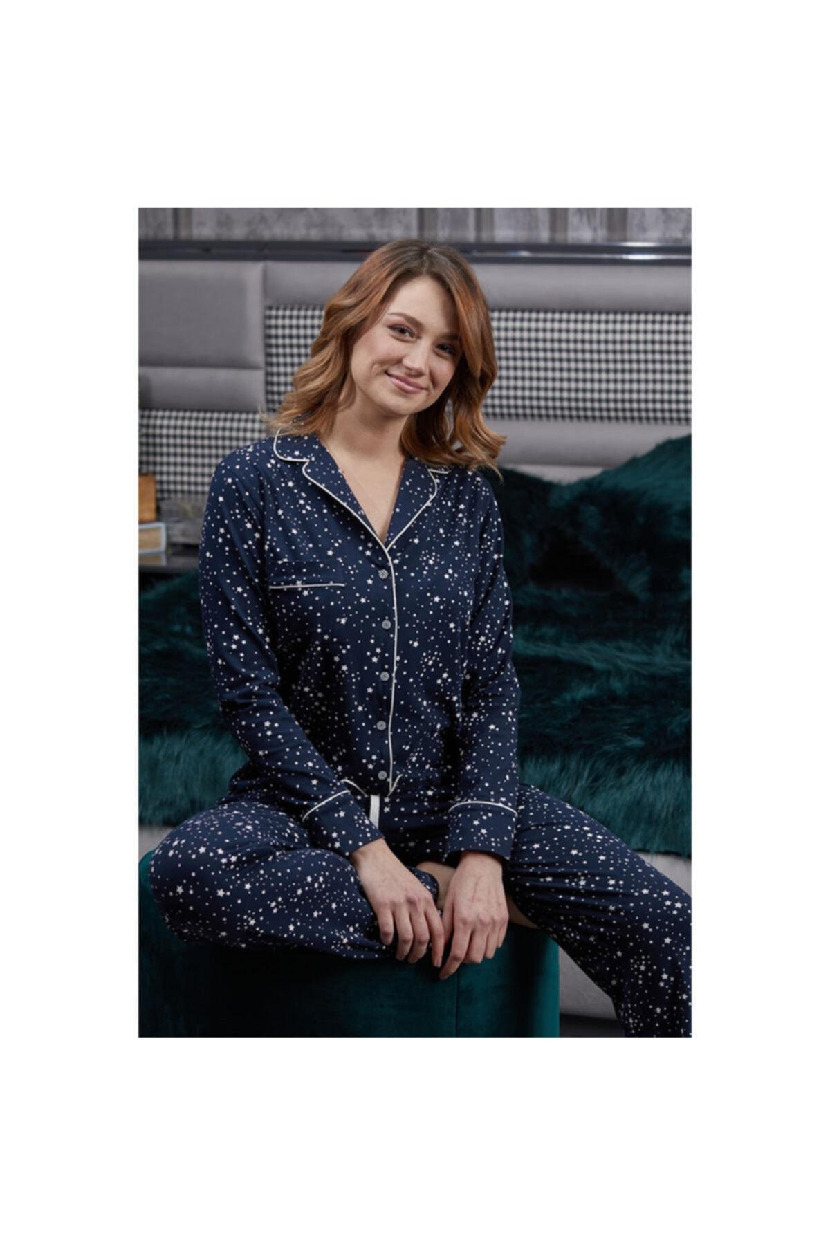 Pamuk & Pamuk Kadın Lacivert Desenli Pijama Takımı 2