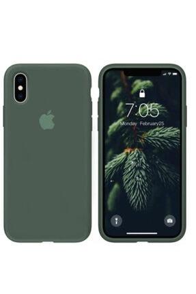Joyroom Apple Iphone X Xs Logolu Silikon Lansman Kılıf Iç Yüzeyi Kadife Mint Yeşil