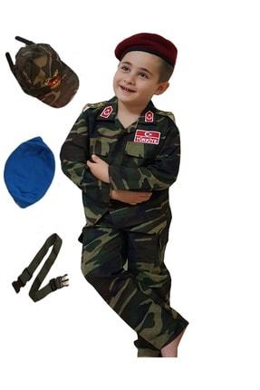 DEHAMODA 6 Parça Bordo Ve Mavi Bereli Çocuk Asker Komando Kostümü