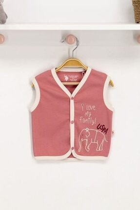 U.S. Polo Assn. Kız Bebek Pembe Yelek Usb014-c