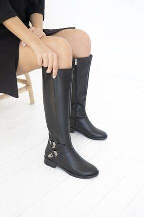 STRASWANS Kadın Siyah Kemer Aksesuarlı Deri Çizme