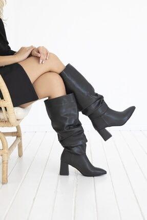 STRASWANS Kadın Siyah Körüklü Deri Çizme