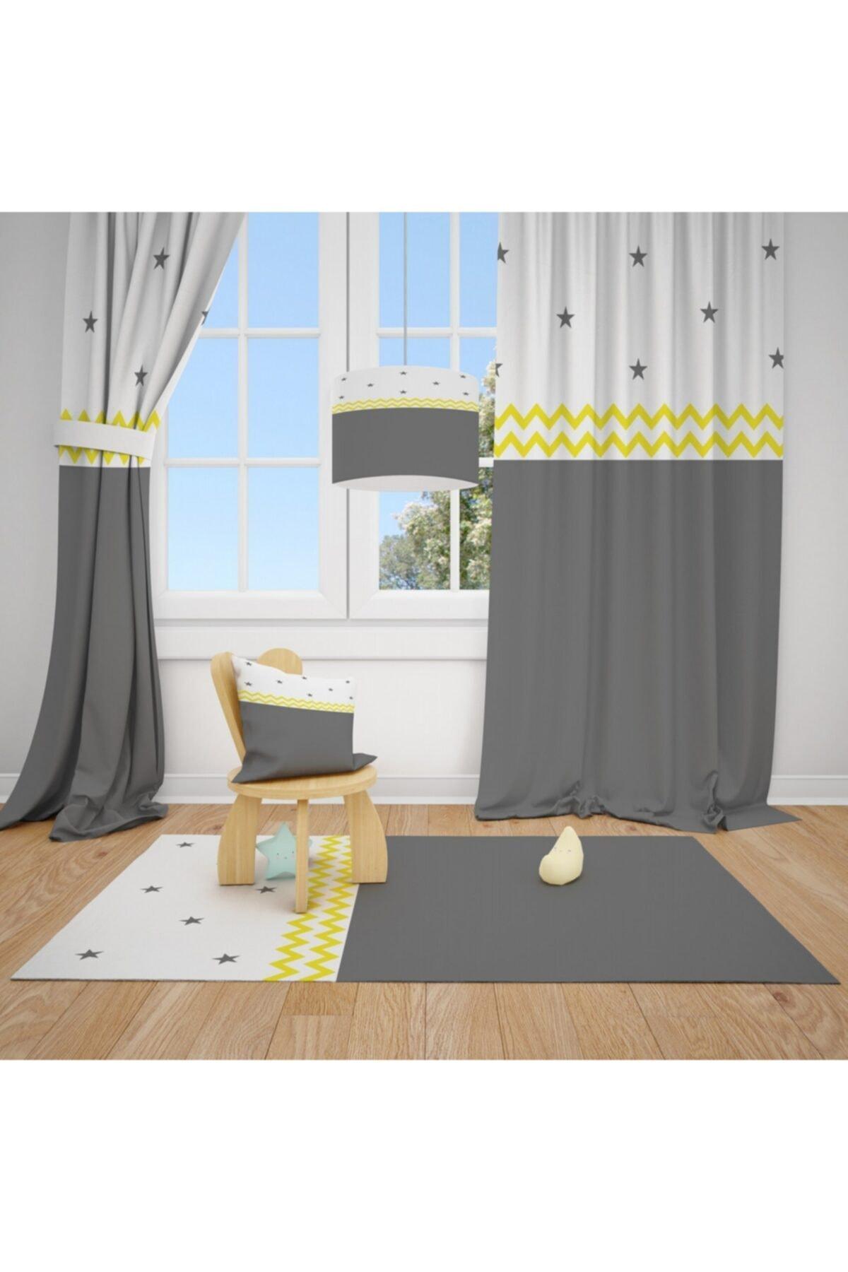 CİCİ TASARIM ÜRÜNLERİ Sarı Dalgalı Şerit Gri Beyaz Desen Çocuk  Odası Halısı 1