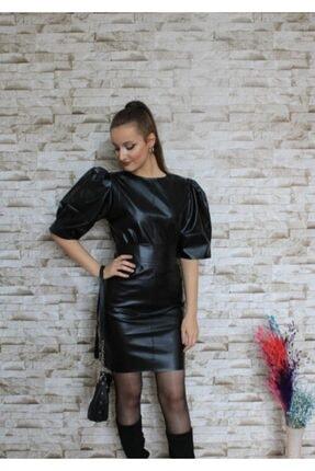 Bella Kadın Siyah Balon Kol Deri Elbise