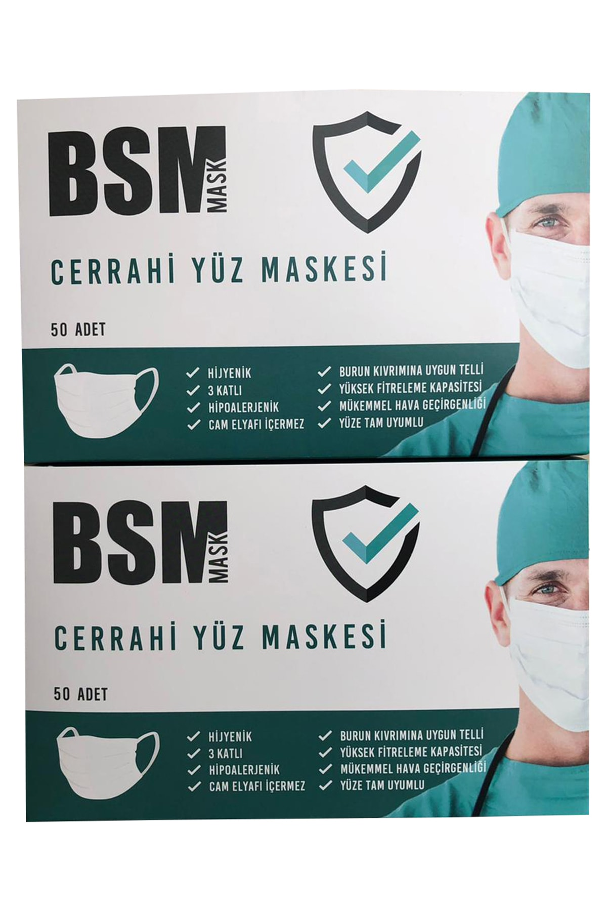 BSM 2 kutu 100 Adet Lastikli Burun Telli CE Belgeli Ultrasonik Gövde 3 Katlı Cerrahi Maske 1