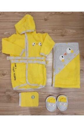 Miniworld Unisex Bebek Sarı Civcivli  Bornoz Takımı 4 Parça