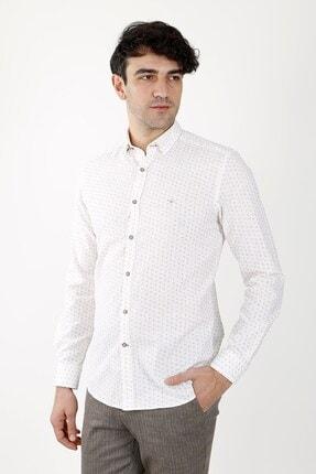 Jakamen Erkek Beyaz Slim Fit Gömlek Normal Manşet