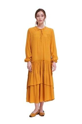 Mizalle Kadın Hardal Sarısı Kolları Büzgülü Kat Detaylı Elbise 20ygmzl1010026